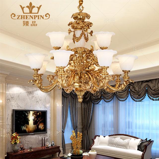 法式全铜吊灯复式楼别墅客厅欧式餐厅酒店大灯复古奢华 铜灯md16051